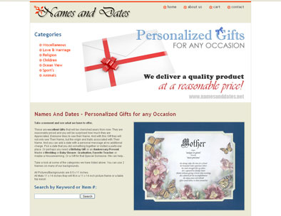 Website Design Sample: Names and Dates